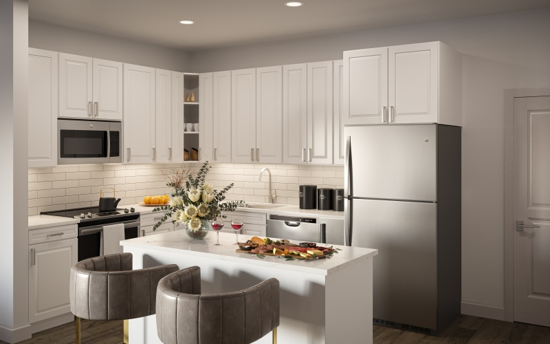 open kitchen with island, stools and appliances