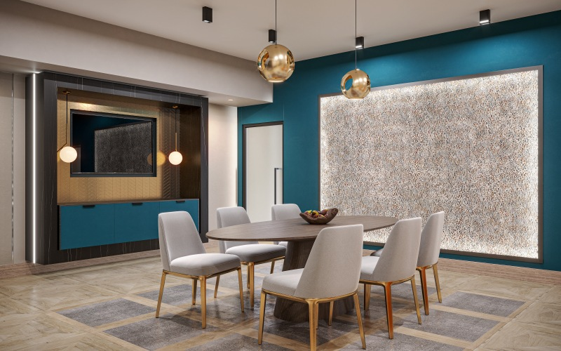 conference room with seating and TV