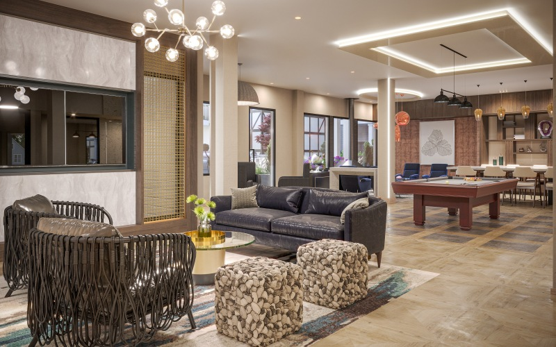 clubroom with ample seating and billiards table