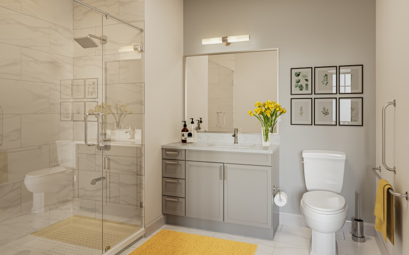 bright bathroom with stand up shower