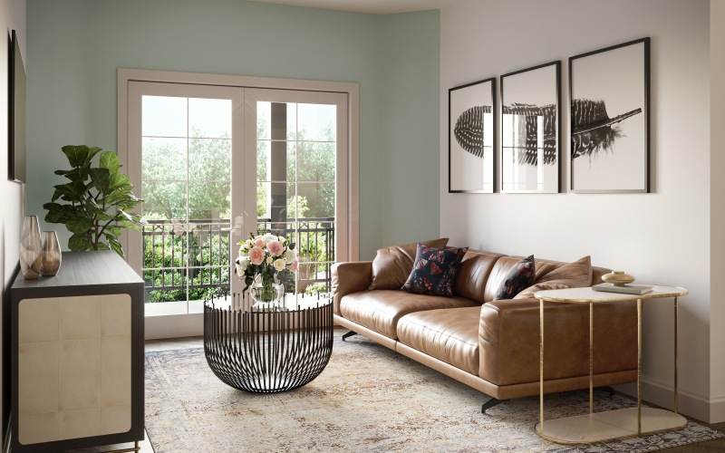 living room with large windows and seating area