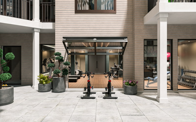 outdoor spin bike area