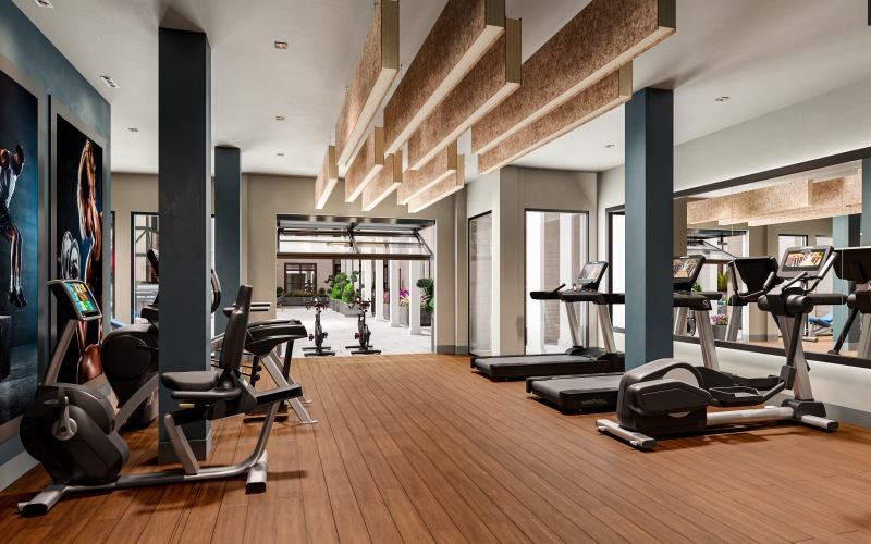 fitness center with cardio equipment and outdoor spin bikes